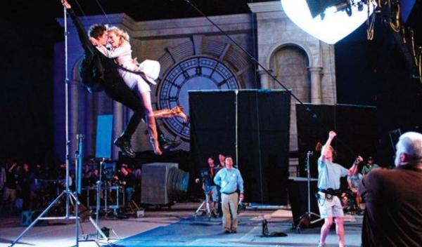 Andrew Garfield & Emma Stone at Stone, Garfield in Mid-Air SPIDER MAN Stunt