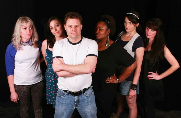 Rob Gordon and his Top Five ex-girlfriends -- from left, Sarah Porter, Terrie Carolan, Jeffrey M. Wright (as Rob), Talichia Noah, Taylor Pietz, and Chrissy Young