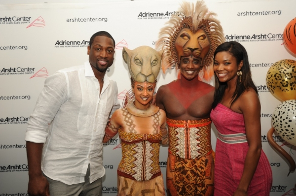 Dwyane Wade, Gabrielle Union, Lion King cast members Syndee Winters (Nala) and Jelani Remy (Simba)