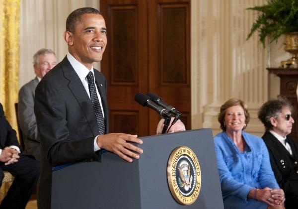 Barack Obama at President Obama Awards Bob Dylan the Presidential Medal of Freedom