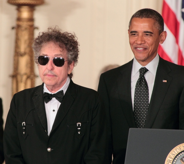 Bob Dylan, President Barack Obama at President Obama Awards Bob Dylan the Presidential Medal of Freedom