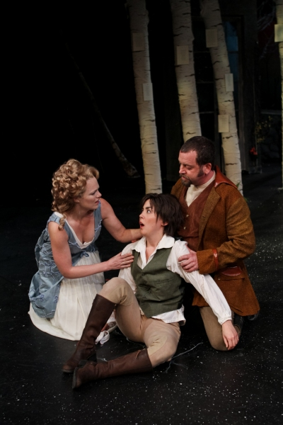 Rebecca Olson as Celia, Hana Lass as Rosalind, and Peter Dylan O'Connor as Oliver
