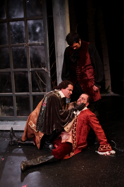 Jake Ynzunza as Charles, Ray Gonzalez as Duke Frederick, and Peter Dylan O'Connor as Oliver