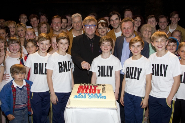 Kaine Ward, Adam Vesperman, Elton John, Harris Beattie, Lee Hall, Harrison Dowzell and Ryan Collinson at Elton John & Stephen Daldry Celebrate 3000 Performances of BILLY ELLIOT