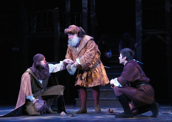 Patrick Toon as Bardolph, John Ahlin as Sir John Falstaff and Jordan Laroya as Peto