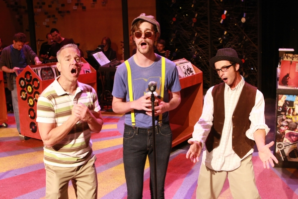 Keith Thompson, Ryan Foizey, and Todd Micali at Production Pics from New Line Theatre's HIGH FIDELITY