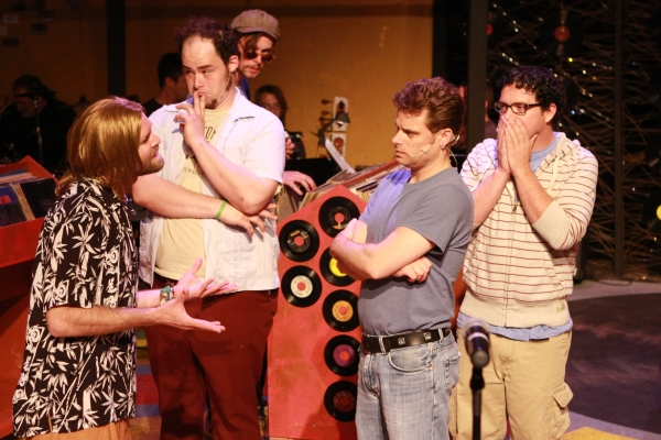 Aaron Allen as Ian, Zachary Allen Farmer as Barry, Jeffrey M. Wright as Rob, and Mike Dowdy as Dick at Production Pics from New Line Theatre's HIGH FIDELITY