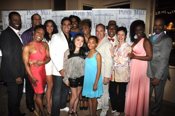 Lynn Ahrens and Stephen Flaherty with the cast of Once On This Island-Darius de Haas, Kevin R. Free, Courtney Harris, Adam Jacobs, Syesha Mercado, Kenita R. Miller, Alan Mingo, Jr., Courtney Reed, Saycon Sengbloh, Jerold E. Solomon, Aurelia Williams and M