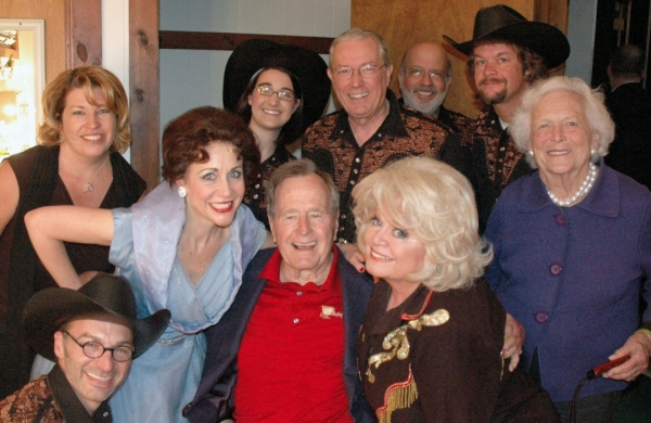 President George H.W. Bush and Barbara Bush with Sally Struthers, Carter Calvert, Ken Clifton, Mary K. Gabrysiak, Sue Buzzard, Bill Fall, Ken Godel and Scottie Johnson at President George H.W. Bush & Barbara Bush Visit Ogunquit Playhouse's ALWAYS, PATSY CLINE