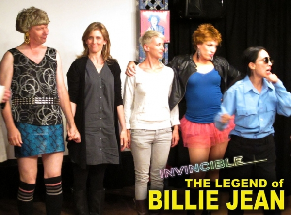 "Helen Slater on stage with cast as one of the ""Billie Jean Look-Alikes"""