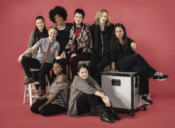 Eve Ensler (center) and Jo Bonney (second from right) with Joaquina Kalukango and Molly Carden (front row) and Olivia Oguma, Emily S. Grosland, Ashley Bryant and Sade Namei (back row)
