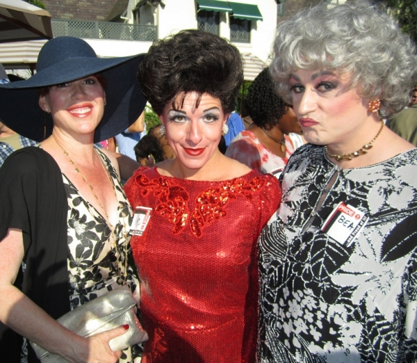 Judy Garland (Peter Mac) & Bea Arthur (John Schaefer)  with this years Los Angeles Gay Pride Grand Marshall, Molly Ringwald at Peter Mac & John Schaefer Visit LA Mayor's Gay Pride Garden Party