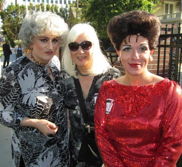 Judy Garland (Peter Mac) & Bea Arthur (John Schaefer) with this years, Harvey Milk Legacy Award recipient Mia Yamamotoat  at Peter Mac & John Schaefer Visit LA Mayor's Gay Pride Garden Party