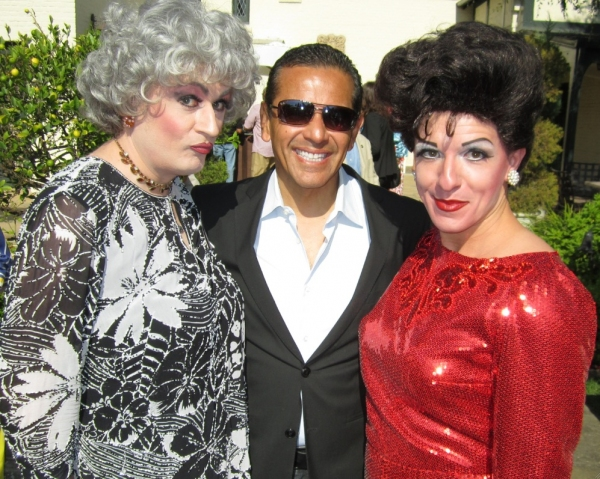Judy Garland (Peter Mac) & Bea Arthur (John Schaefer) with Los Angeles Mayor Antonio Villaraigosa at Peter Mac & John Schaefer Visit LA Mayor's Gay Pride Garden Party