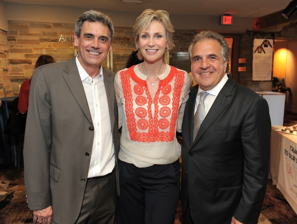 "Randall Arney, Jane Lynch and Jim Gianopulos attend the ""Backstage At The Geffen"" Fundraiser on Monday, June 4, 2012 in Los Angeles. (Photo by Jordan Strauss/Invision for Geffen Playhouse)"
