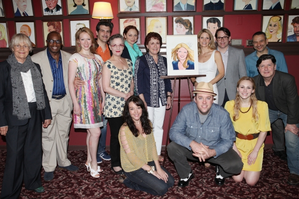 Estelle Parsons, Judy Kaye, Kelli O'Hara, Matthew Broderick, Michael McGrath & Joe DiPietro with the Company  at NICE WORK IF YOU CAN GET IT's Kelli O'Hara Joins the Sardi's Wall Of Fame!