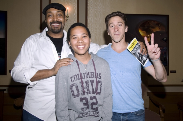 Jesse L. Martin and family friend Bradley, Luther Creek at Jesse L. Martin Visits SPIDER-MAN!