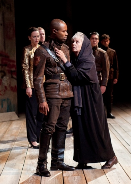 (foreground, from left) Jacques C. Smith as Duke of Buckingham and Robin Moseley as Queen Margaret with (from left) Dana Green, Jeremy Fisher, Christopher Salazar and Sean-Michael Wilkinson
