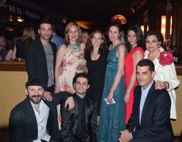 Back Row: Haaz Sleiman, Heather Raffo, Shana Gold, Lameece Issaq, Maha Chehlaoui, Kathryn Kates Front Row: Laith Nakli, Arian Moayed, Jacob Kader  at FOOD AND FADWA Opens at New York Theatre Workshop