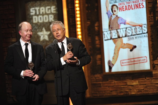 Alan Menken and Jack Feldman with their awards for Original score (music and/or lyrics) written for the theater for their work on 'Newsies' at the 66th annual Tony Awards in New York on June 10, 2012 at Inside the 2012 Tony Ceremony - Winners, Shows & More!