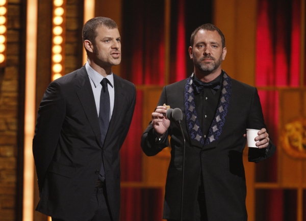 South Park creators and writers of 'The Book of Mormon' Matt Stone (L) and Trey Parker present the award for Best Musical at Inside the 2012 Tony Ceremony - Winners, Shows & More!