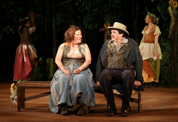 Donna Lynne Champlin and Oliver Platt in the Shakespeare in the Park production of As You Like It, directed by Daniel Sullivan, running as part of The Public Theater's Shakespeare in the Park season celebrating 50 years at The Delacorte in Central Park, J at Lily Rabe, David Furr et al. in The Public Theater's AS YOU LIKE IT