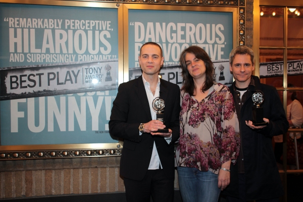 Jordan Roth, Pam MacKinnon, Bruce Norris at CLYBOURNE PARK Celebrates Tony Success with Champagne Toast