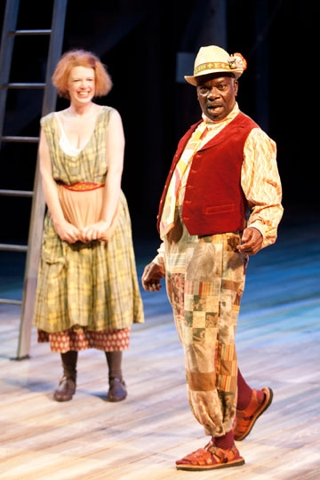 Danielle O'Farrell as Audrey and Joseph Marcell as Touchstone in The Old Globe's Shak Photo