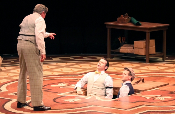 Gary Beach (Horace Vandergelder) with Matt Loehr (Cornelius Hackle) and Eric Mann (Barnaby Tucker)