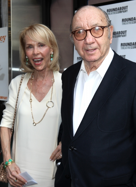 Neil Simon with wife Elaine Joyce at Stars on the HARVEY Opening Night Red Carpet