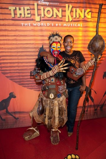Buyi Zama who plays Rafiki pictured at Disney's The Lion King at Mandalay Bay and Madame Tussauds Las Vegas Unveil Iconic Rafiki Wax Figure at Madame Tussauds in Las Vegas, NV on March 4, 2010. © RD/ Erik Kabik/ Retna Digital