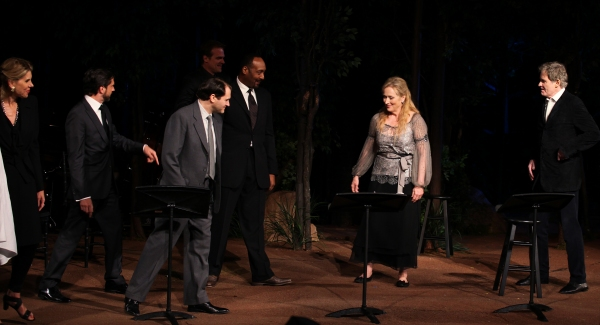 Christine Baranski, Raul Esparza, Michael Stuhlbarg, David Harbour, Jesse L. Martin, Meryl Streep & Kevin Kline at Meryl Streep, Kevin Kline & Co. in ROMEO & JULIET Curtain Call in Central Park