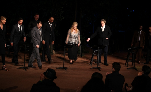 Christine Baranski, Raul Esparza, Michael Stuhlbarg, David Harbour, Jesse L. Martin, Meryl Streep, Kevin Kline, Joe Morton & David Pittu  at Meryl Streep, Kevin Kline & Co. in ROMEO & JULIET Curtain Call in Central Park