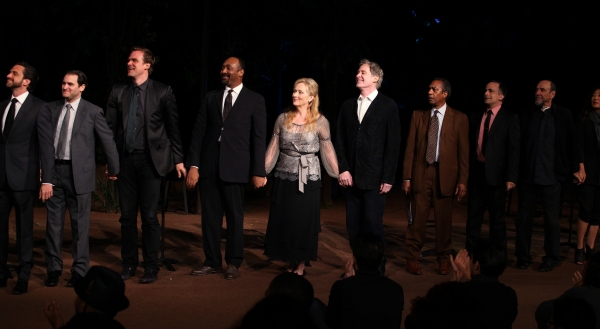 Raul Esparza, Michael Stuhlbarg, David Harbour, Jesse L. Martin, Meryl Streep, Kevin Kline, Joe Morton, David Pittu, F. Murray Abraham & Sandra Oh  at Meryl Streep, Kevin Kline & Co. in ROMEO & JULIET Curtain Call in Central Park