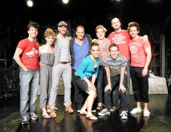 Woody Harrelson (center) with Director/Co-Writer Marshall Pailet (left) and the Entire Cast of TRIASSIC PARQ The Musical at the SoHo Playhouse