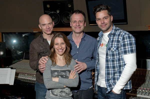 Michael Cerveris, Elena Roger, Michael Grandage and Ricky Martin at Ricky Martin, Elena Roger, Michael Cerveris and the Cast of EVITA in the Recording Studio!