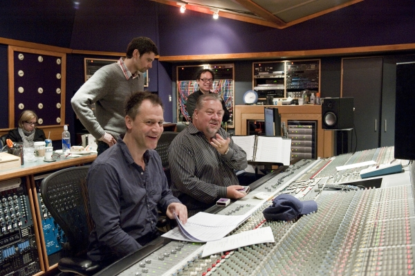 Michael Grandage and Nigel Wright at Ricky Martin, Elena Roger, Michael Cerveris and the Cast of EVITA in the Recording Studio!