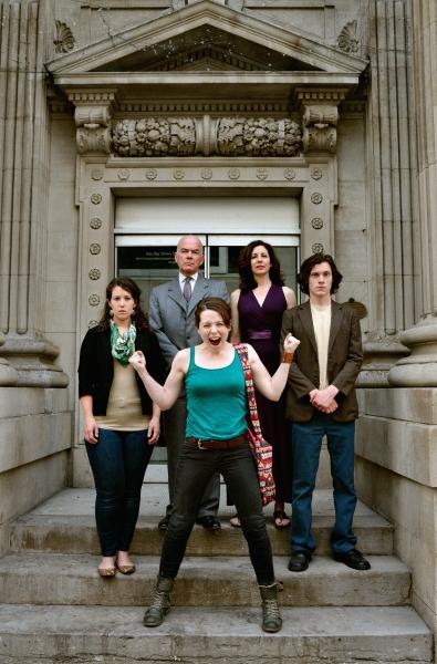 Background: Leah Holder, Thomas Gough, Kathryn Malek, Glyn Bowerman. Foreground: Cydney Penner.