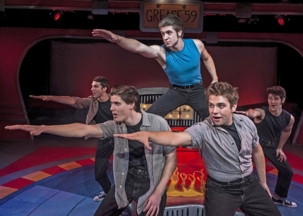 "Chris Collins as Sonny, Alexander Hulett as Doodie, Ryan Shaefer as Keinicke, Coleman Hemsath as Roger, and Dylan Schartz-Wallach as Danny perform ""Grease Lightning"""