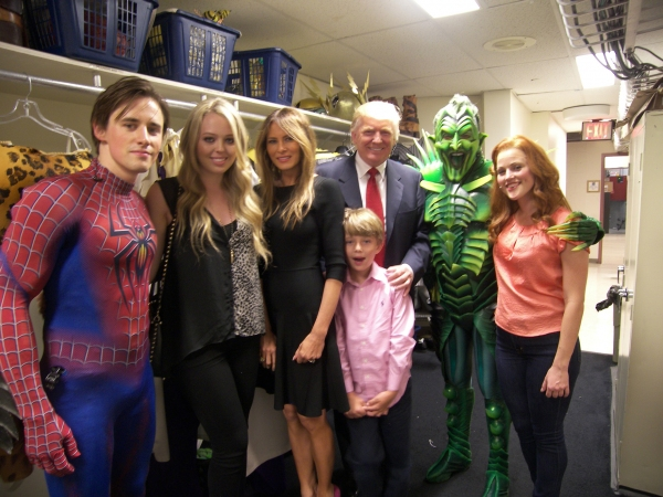 Reeve Carney, Donald Trump and Family, Patrick Page, and Rebecca Faulkenberry at Donald Trump and Family Visit SPIDER-MAN: TURN OFF THE DARK