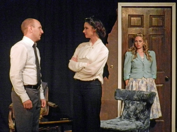 Brandon Hobratschk as Joseph Garcin, Meg Wozniak as Inez Serrano, and Betty Marie Muessig as Estelle Regault