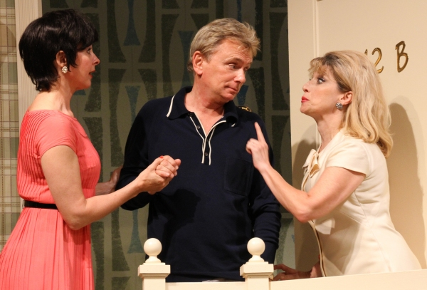 Kathleen McNenny (left, Cecily) and Liz Larsen (right, Gwendolyn) as the Pigeon sisters with Pat Sajak (Felix Ungar)