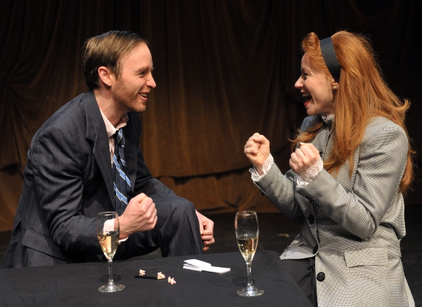 James O. Dunn as Grimes and Tara Giordano as Scilla Todd in Serious Money