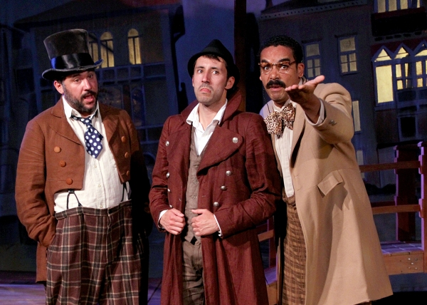 Angelo the goldsmith played by Jay Leibowitz, Philip Mutz as Antipholus of Ephesus, and Phillip Christian as Balthazar the merchant