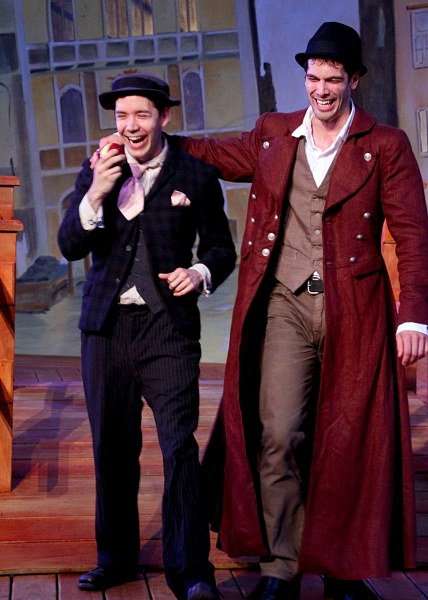 Jack Moran as Dromio of Syracuse and Matthew Simpson as Antipholes of Syracuse at Shakespeare Theatre of New Jersey Presents THE COMEDY OF ERRORS