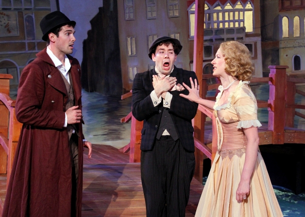 Matthew Simpson as Antipholes of Syracuse, Jack Moran as Dromio of Syracuse and Amanda Duffy as Adriana at Shakespeare Theatre of New Jersey Presents THE COMEDY OF ERRORS