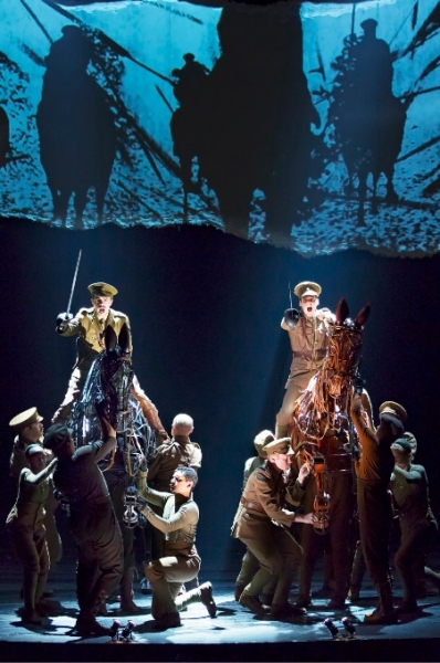 Grayson DeJesus and Michael Wyatt Cox (on horseback) with the Cast of WAR HORSE