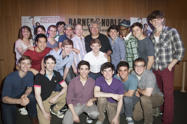 Jack Feldman, Harvey Fierstein and the cast of 'Newsies' at NEWSIES Cast Performs at Barnes & Noble