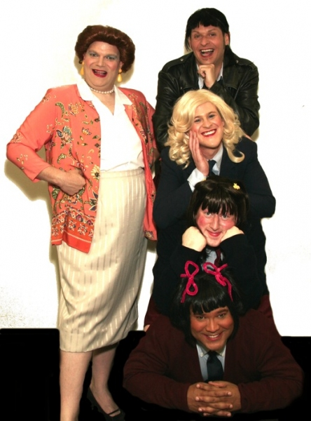 Mrs. Garrett (Joe Bailey, left) and her Eastland girls: (from top to bottom) Jo (Jamie Richards), Blair (Richard Payton), Natalie (Joe Plambeck), and Tootie (Jerry Haines)