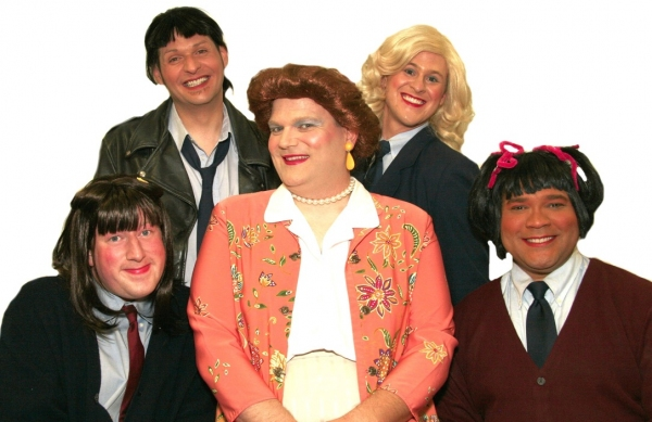 Mrs. Garrett (Joe Bailey, center) is surrounded by her Eastland girls: (from left to right) Natalie (Joe Plambeck), Jo (Jamie Richards), Blair (Richard Payton), Tootie (Jerry Haines)